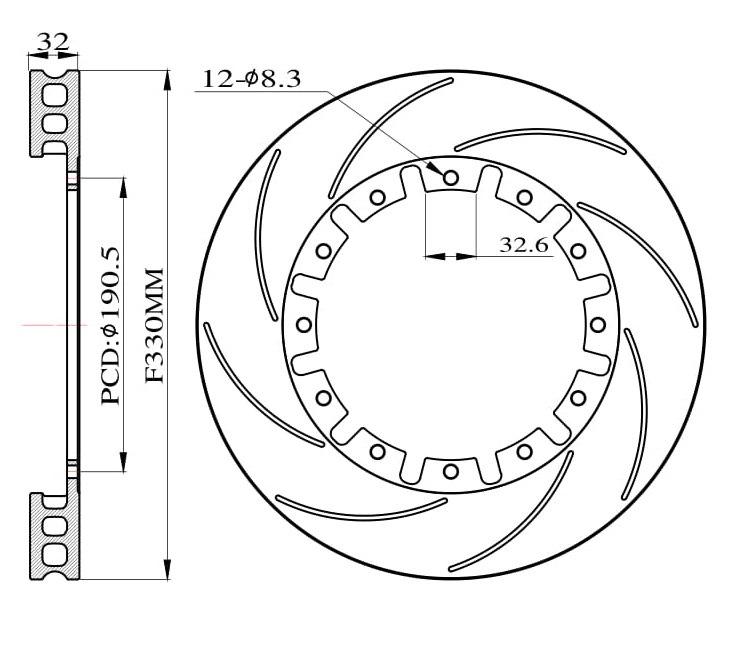 Tarcze hamulcowe nacinane do zestawu Big Brake 330mm 2015+ - GRUBYGARAGE - Sklep Tuningowy